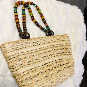 Capelli Straw Toe Bag with Wooden Bead Bandle